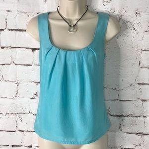 TRINA TURK LA aqua blue silk sleeveless top